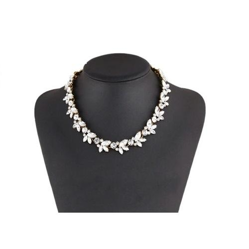 Antique Gold Plated Rhinestone Full Flower Choker Necklace