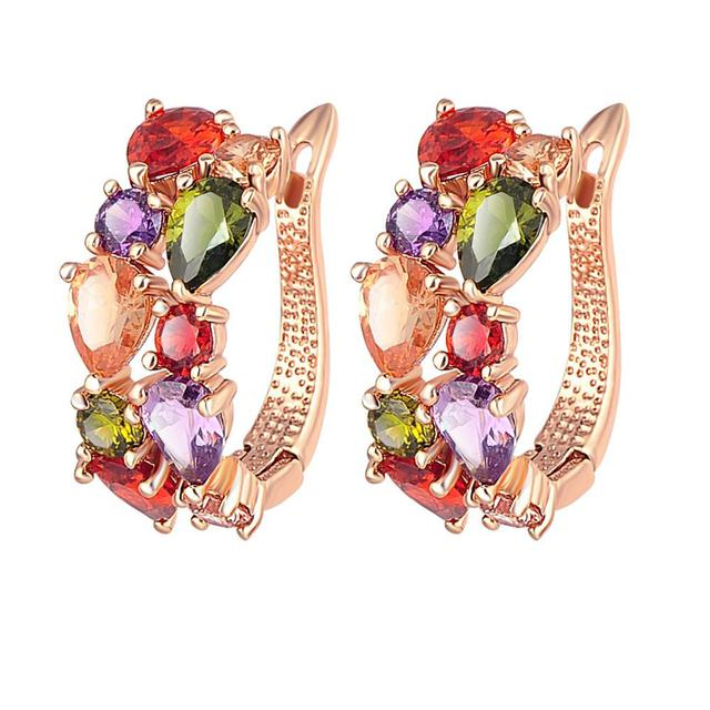 Rose Gold Plated Multicolour Swiss Cubic Zircon Sparkling Flowerets Clip-on Earrings