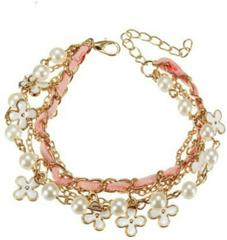 Pink Leather Clover Rope Pearl Bracelet