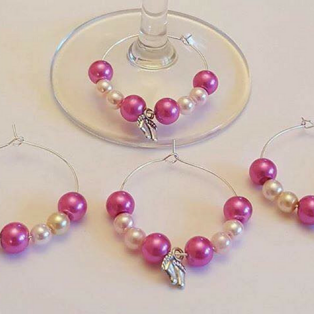 Wine Glass Charm Favours - Baby Feet - Pink