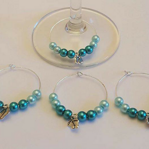 Wine Glass Charm Favours - Baby Feet - Blue