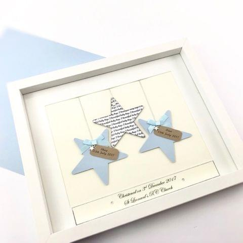 Twins Personalised Frame - Stars - Baby Boy