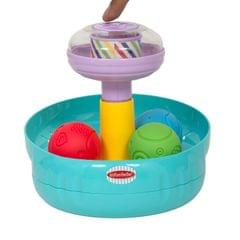 BAYBEE Spinning Top Rolling for Kids, Soft with Rattle Sound -Swirl Ball Ramp Educational Toy Rubber Colour , Small Size (Multicolour)