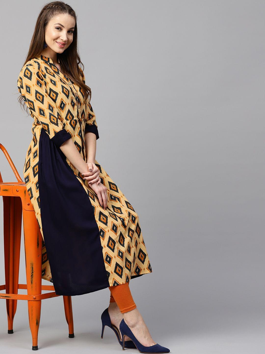 Yufta Women Yellow & Navy Blue Printed Panelled A-Line Kurta