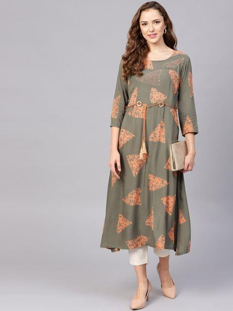 Yufta Women Olive Green & Orange Printed A-Line Kurta
