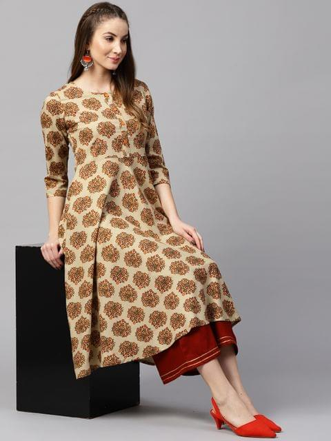 Yufta Women Beige & Orange Printed A-Line Kurta