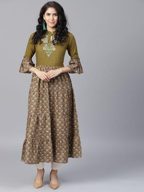 Yufta Women Olive Green  Grey Printed Anarkali Kurta