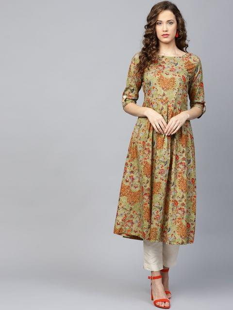 Yufta Women Olive Green & Rust Orange Printed A-Line Kurta
