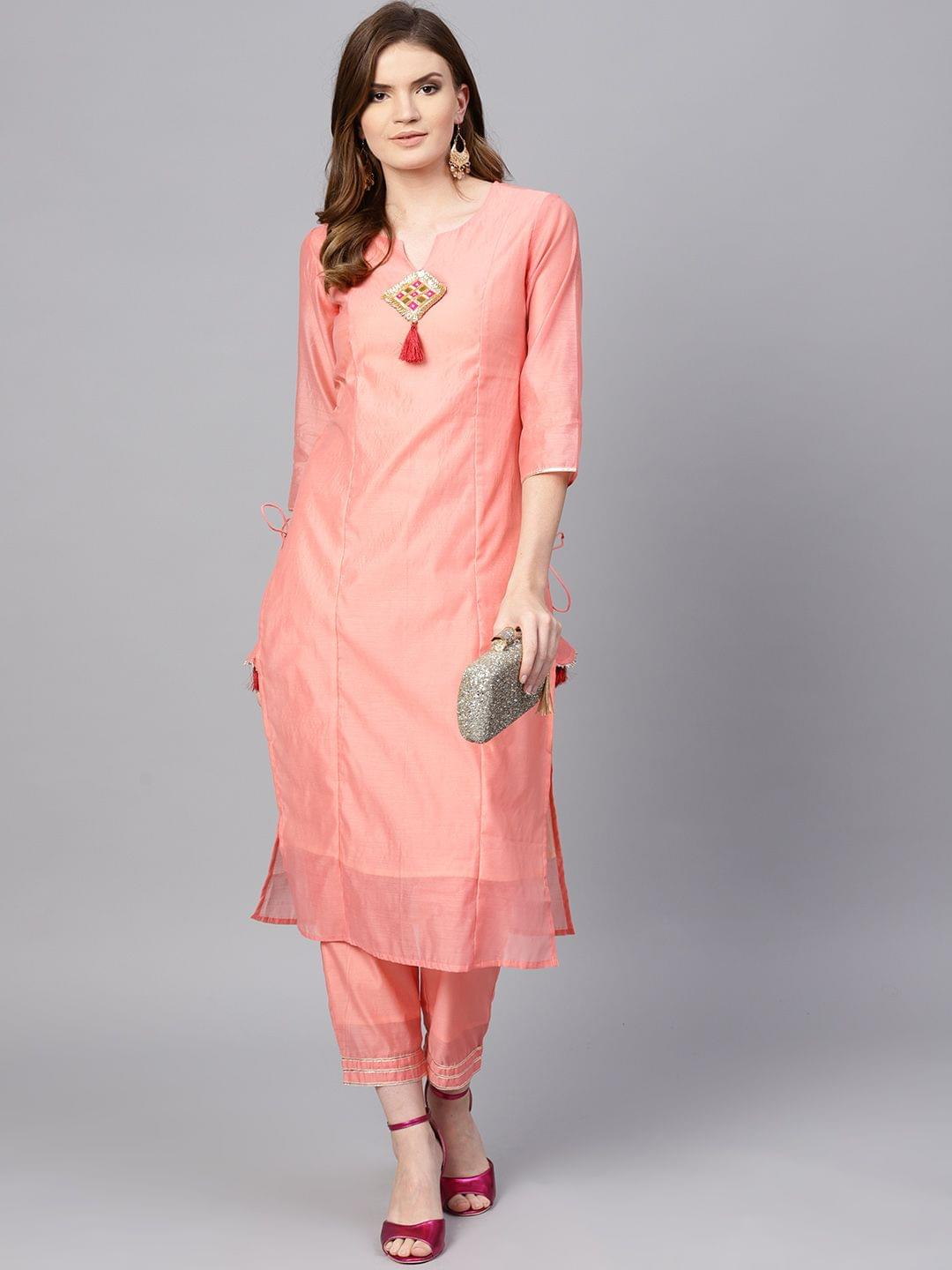 Yufta Women Pink Solid Kurta with Trousers