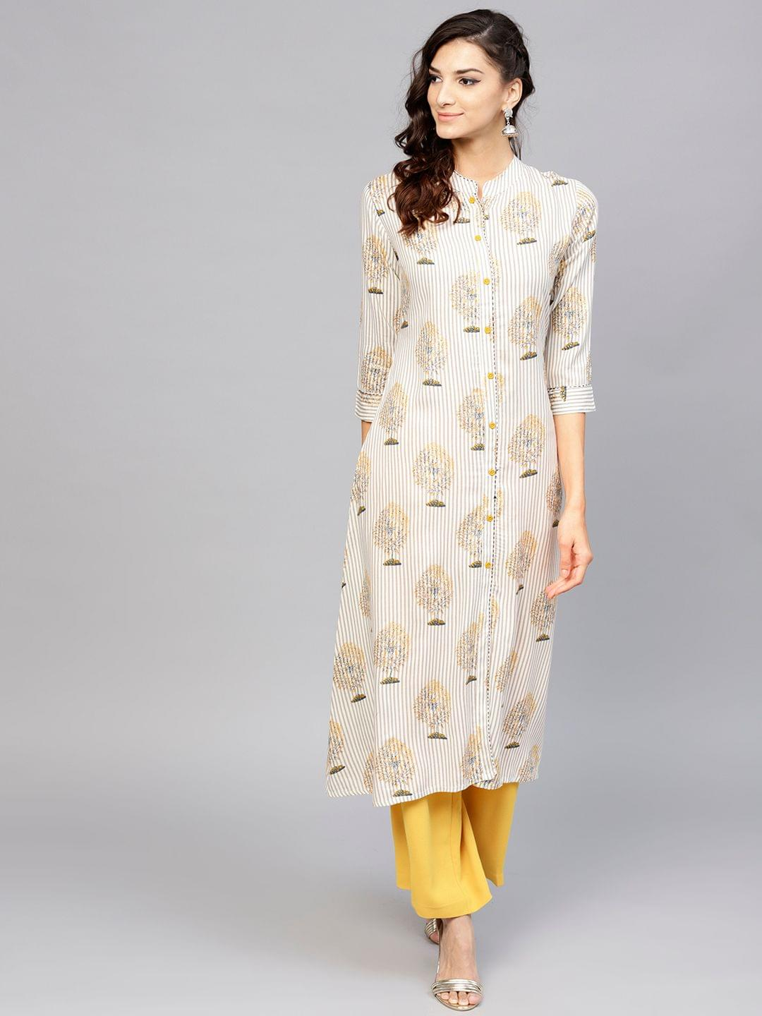 Yufta Women Off-White & Grey Striped A-Line Kurta