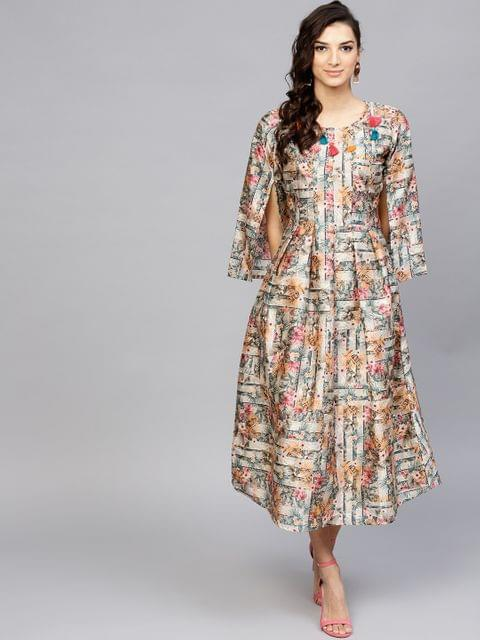 Yufta Women Grey & Pink Printed A-Line Dress