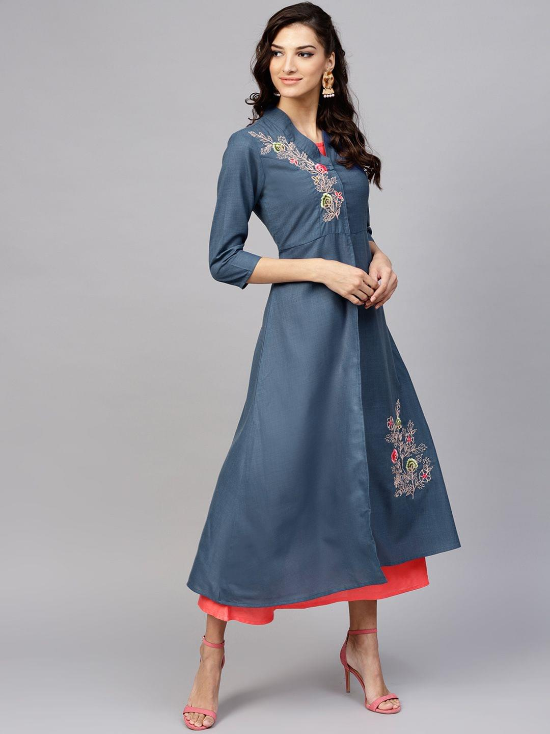 Yufta Women Navy Blue & Coral Pink Solid A-Line Dress with Ethnic Jacket