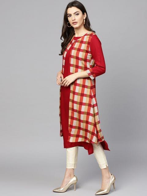 Women Maroon Checked Straight Kurta