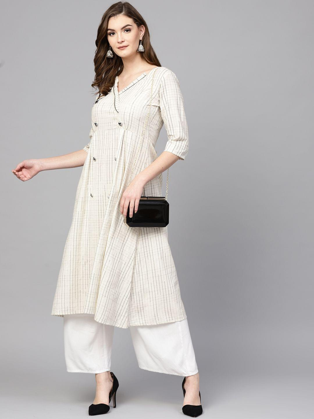 Women Off-White & Black Checked A-Line Kurta