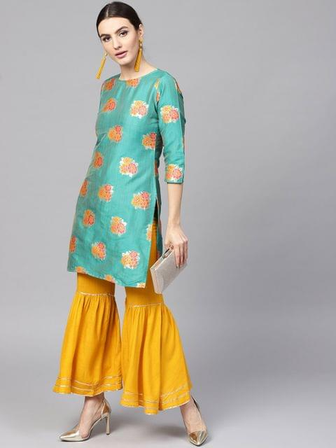 Women Green & Mustard Yellow Self Design Kurta with Sharara