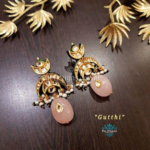 Gutthi Rose Quartz Kundan Earing