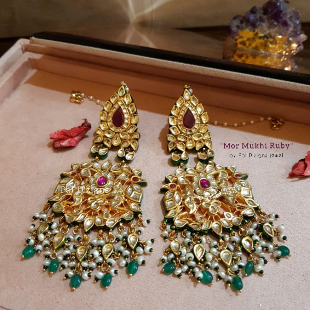 Mor Mukhi Ruby Earings