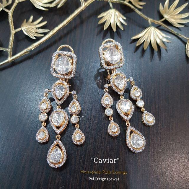 Caviar Moissanite Polki Earings