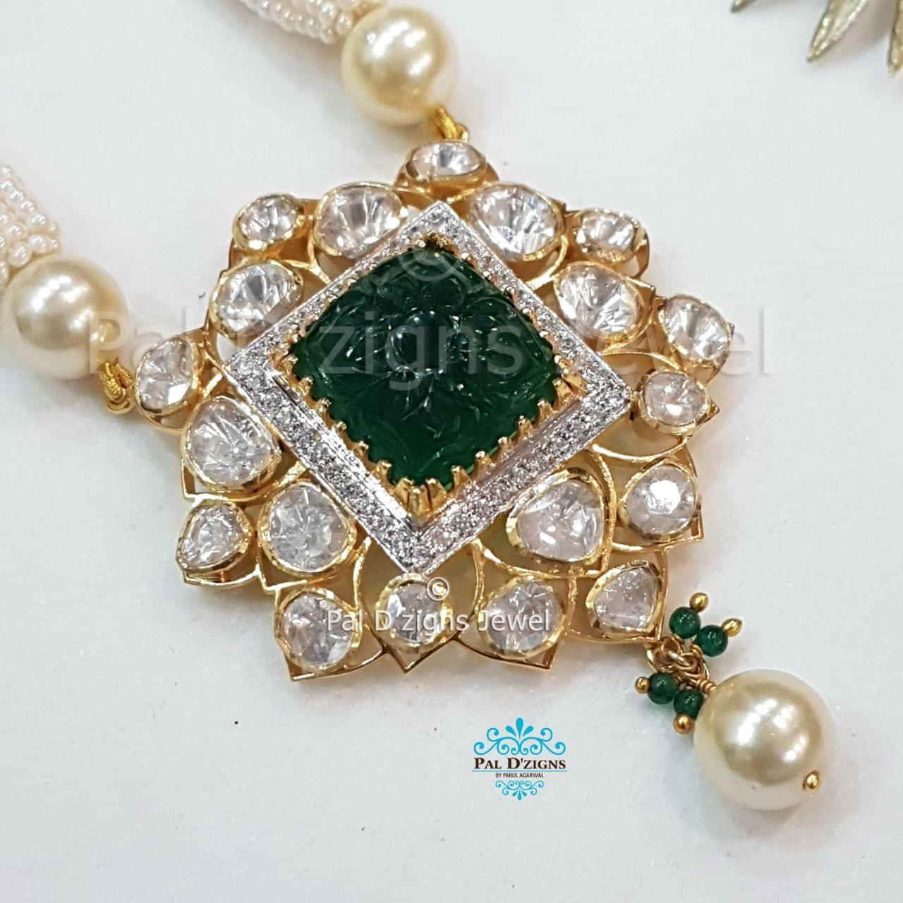 Astro Emerald Moissanite Polki Pendant
