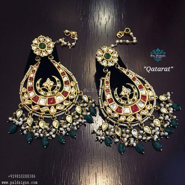 Qatarat Kundan Chaandbaali Earings