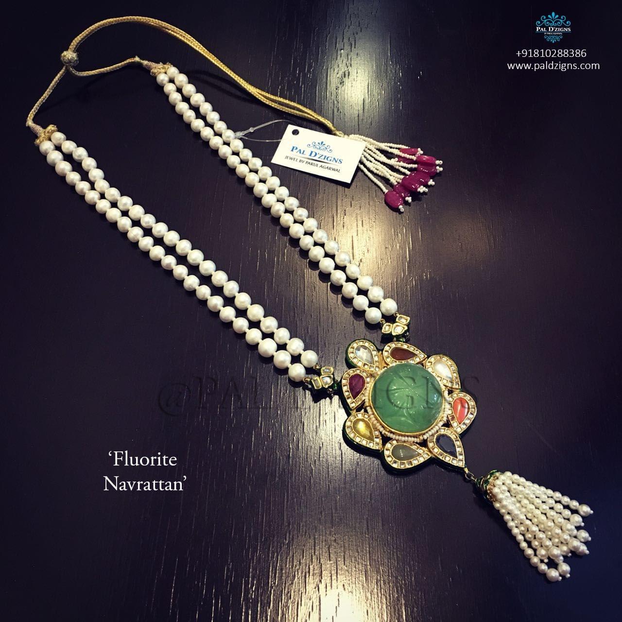 Fluorite Navrattan Kundan Necklace