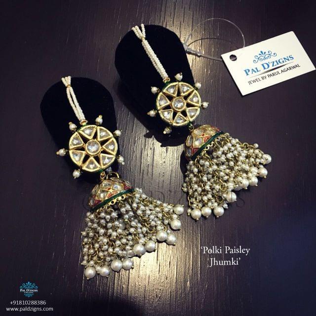 Polki Paisley Jhumki Earing