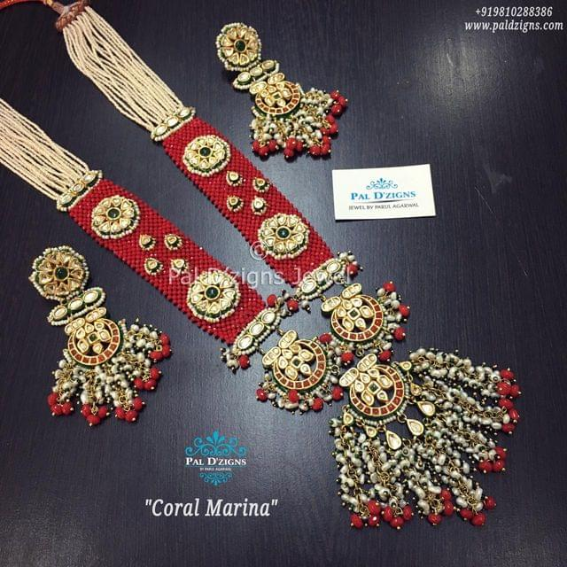 Coral Marina Kundan Necklace Set