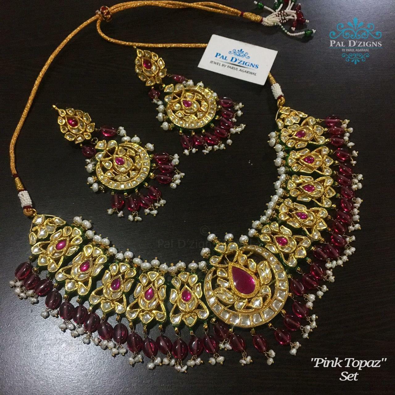 Pink Topaz Kundan Set