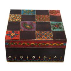 Artisan Crafted Painted Wood Decorative Box and Lid, 'Jodhpur Gala' (box09)