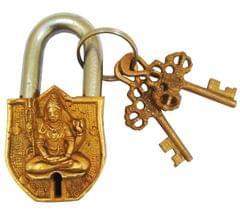 Purpledip Handmade Brass Antique Pad Lock with Mahadev Idol (10011)