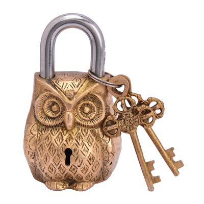 Purpledip Owl Shaped Brass Lock Antique Handcrafted Locks for Security (10229)