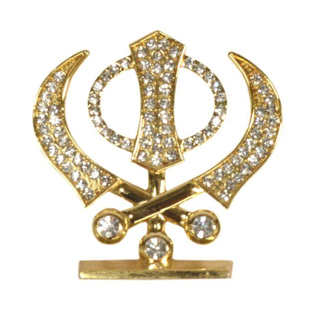 Purpledip Sikh Religious Symbol 'Khanda' Showpiece Statue for Car Dashboard, Home Temple, Office Table or Car Dashboard (10291)