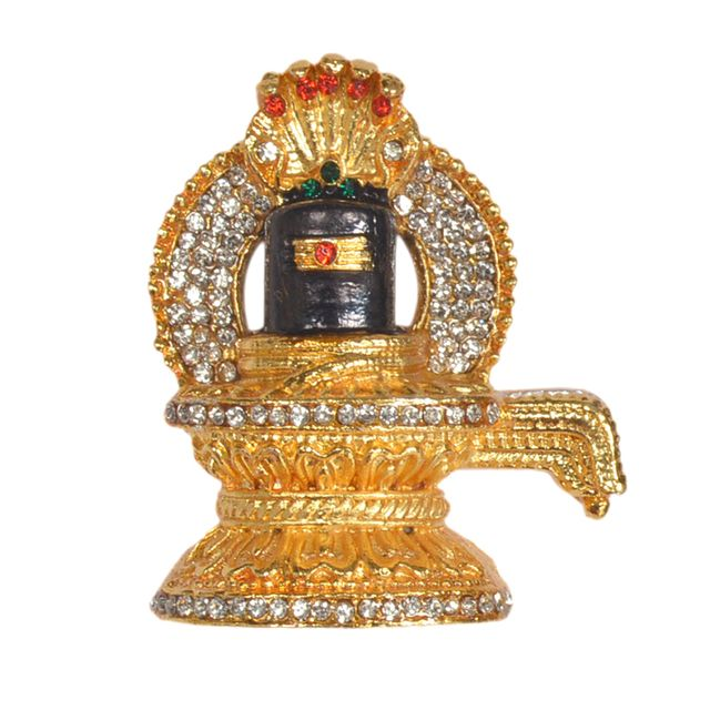 Purpledip Hindu Religious Symbol 'Shivling' Metal Showpiece Statue for Home Temple, Office Table or Car Dashboard (10293)
