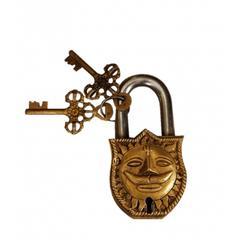 Purpledip Padlock with Surya Dev (Sooraj Devta/Bhagwan or Sun God) Relief Sculpted in Brass (10329)