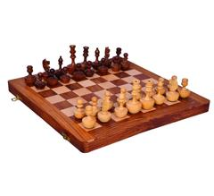 "Purpledip Wooden Chess Set with Unique Self-erecting Design Pieces ""Always Up"" (10413)"