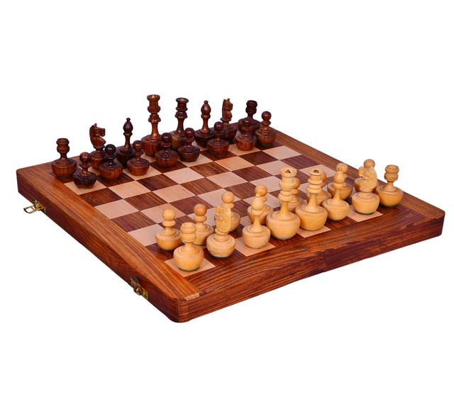 """Purpledip Wooden Chess Set with Unique Self-erecting Design Pieces """"Always Up"""" (10413)"""