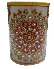 Purpledip Marble Pen Holder/ Stationery holder, Tooth brush holder with handpainted floral designs (10562)