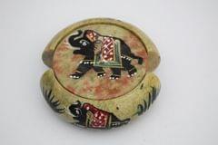 Purpledip Round Soapstone Coaster Set of 6 with elephant carving (10593)