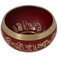 Purpledip 5 Inches Bell Metal Tibetan Buddhist Singing Bowl Red 10779