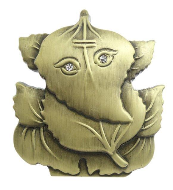 Purpledip Ganesha Statue On Leaf For Car Dashboard (10676)
