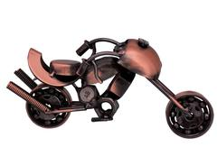 Purpledip Collectible: Handcrafted Rustic Miniature Motorcycle Bike Showpiece Gift For Road Enthusiasts (10714)