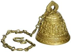 Temple Hanging Bell In Ashta-Vinayaka Design: Solid Brass 3 kgs Heavy Bell With Deep Sound (10718)