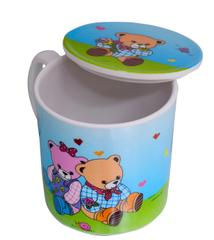 Children's Mug With Lid Cover: For Kids In High Quality Plastic Cute Teddy Bears (10723j)