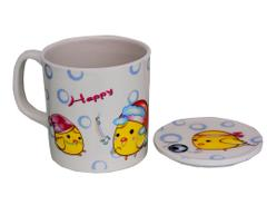 Purpledip Children's Mug With Lid Cover: For Kids In High Quality Plastic Cute Dinosaurs (10723b)