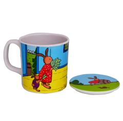 Purpledip Children's Mug With Lid Cover: For Kids In High Quality Plastic Cute Dinosaurs (10723c)