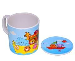 Purpledip Children's Mug With Lid Cover: For Kids In High Quality Plastic Cute Dinosaurs (10723d)