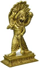 Brass Statue Idol Vishnu Narsihman For Home Temple Mandir Narasimha Vishnu Avatar Pure Brass Statue (10808)