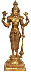 Brass Statue Idol 4 Armed Standing Tall Vishnu For Home Temple Mandir Standing Vishnu Avatar Pure Brass Statue (10809)