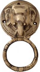 Door Knocker in Pure Brass for Main Door, Elephant Head Design Fully Functional Decorative Elephant Brass Door knocker                               (10820)