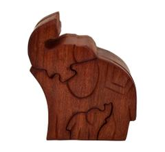 Purpledip Magic Wooden Puzzle Box 'Regal Elephant': Handmade Mystery Keepsake Box Game Gift (10787)